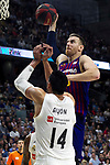 Barcelona's Victor Claver and Real Madrid's Gustavo Ayon during Liga Endesa match between Real Madrid and FC Barcelona Lassa at Wizink Center in Madrid, Spain. March 24, 2019.  (ALTERPHOTOS/Alconada)