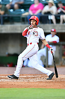 Greeneville Reds center fielder Brian Ray (6) swings at a pitch during a game against the Bluefield Blue Jays at Pioneer Park on June 30, 2018 in Greeneville, Tennessee. The Blue Jays defeated the Red 7-3. (Tony Farlow/Four Seam Images)
