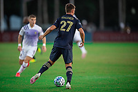 LAKE BUENA VISTA, FL - JULY 20: Kai Wagner #27 of the Philadelphia Union dribbles the ball during a game between Orlando City SC and Philadelphia Union at Wide World of Sports on July 20, 2020 in Lake Buena Vista, Florida.