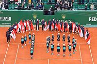 Une vue générale durant la finale du Monte Carlo Rolex Masters 2017 qui a opposé Rafael Nadal à Albert Ramos-Vinolas sur le court Rainier III du Monte Carlo Country Club à Roquebrune Cap Martin le 23 avril 2O17. Nadal a remporté le match en 2 sets, 6/1 - 6/3. Il remporte ici ce tournoi pour la dixième fois.