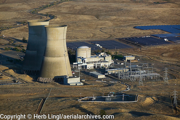aerial view above decommissioned Rancho Seco Nuclear Generating Station Herald California Sacramento County