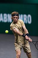 Rotterdam, The Netherlands, 3 march  2021, ABNAMRO World Tennis Tournament, Ahoy, Second round match: Andrey Rublev (RUS).<br /> Photo: www.tennisimages.com/henkkoster
