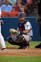 Lynchburg Hillcats catcher Li-Jen Chu (27) during the second game of a doubleheader against the Frederick Keys on June 12, 2018 at Nymeo Field at Harry Grove Stadium in Frederick, Maryland.  Frederick defeated Lynchburg 8-1.  (Mike Janes/Four Seam Images)