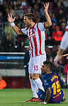Guillaume Gillet of Olympiacos FC reacts during the UEFA Champions League 2017-18 match between FC Barcelona and Olympiacos FC at Camp Nou on 18 October 2017 in Barcelona, Spain. Photo by Vicens Gimenez / Power Sport Images