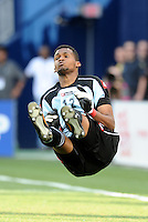Goalkeeper Luis Mejia Panama after making a save...Canada and Panama played to a 1-1 tie in Gold Cup play at LIVESTRONG Sporting Park. Kansas City Kansas.