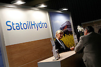 """StatoilHydro exhbition. Renewable sources will be helping to meet the world's demand for energy in the future. This development opens new markets and opportunities for business. Hoping to make """"green business"""" and """"green profit"""" over 60 exhibitors took part in the The North European Renewable Energy Convention (Nerec) , in Norway, presenting their solutions for renewable energy in the future. .© Fredrik Naumann/Felix Features"""