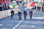 Tadej Pogacar (SLO) UAE Team Emirates, World Champion Julian Alaphilippe (FRA) Deceuninck-QuickStep, Alejandro Valverde (ESP) Movistar Team and David Gaudu (FRA) Groupama-FDJ sprint for the finish line at the end of the 107th edition of Liege-Bastogne-Liege 2021, running 259.1km from Liege to Liege, Belgium. 25th April 221.  <br /> Picture: Serge Waldbillig | Cyclefile<br /> <br /> All photos usage must carry mandatory copyright credit (© Cyclefile | Serge Waldbillig)