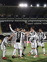 Calcio, Serie A: Fiorentina - Juventus, stadio Artemio Franchi Firenze 9 febbraio 2018.<br /> Juventus' Gonzalo Higuain celebrates with his teammates after scoring during the Italian Serie A football match between Fiorentina and Juventus at Florence's Artemio Franchi stadium, February 9, 2018.<br /> UPDATE IMAGES PRESS/Isabella Bonotto