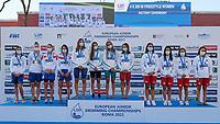 (L to R) Russia Silver; Hungary Gold; Turkey bronze<br /> 4x200 freestyle relay women podium<br /> swimming, nuoto<br /> LEN European Junior Swimming Championships 2021<br /> Rome 2176<br /> Stadio Del Nuoto Foro Italico <br /> Photo Giorgio Scala / Deepbluemedia / Insidefoto