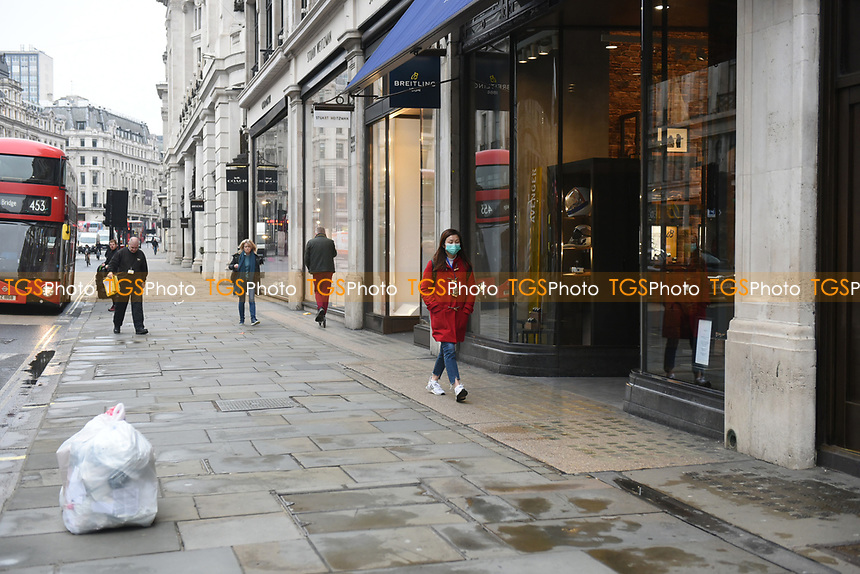 View of Regent Street. The deserted streets show the severe effects of the COVID-19 epidemic on London on the morning of 19th March 2020