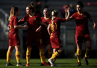 Vanessa Bernauer (2L) of AS Roma celebrates with team mates ( from left to right ) Annamaria Serturini, Giada Greggi, Jenny Bitzer and Martina Piemonte after scoring second goal for her side during the Women Italy cup round of 8 second leg match between AS Roma and Roma Calcio Femminile at stadio delle tre fontane, Roma, February 20, 2019 <br /> Foto Andrea Staccioli / Insidefoto