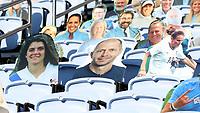 CHAPEL HILL, NC - NOVEMBER 14: Cardboard cutouts of North Carolina soccer stars Mia Hamm, Gregg Berhalter, and Kristine Lilly sit in the stands during a game between Wake Forest and North Carolina at Kenan Memorial Stadium on November 14, 2020 in Chapel Hill, North Carolina.