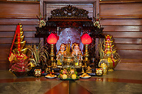 Cambodia, Siem Reap.  Buddhist Shrine in Lobby of Hotel.
