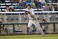 Florida Gators second baseman Dalton Guthrie (5) runs home during the NCAA College baseball World Series against the Virginia Cavaliers on June 15, 2015 at TD Ameritrade Park in Omaha, Nebraska. Virginia defeated Florida 1-0. (Andrew Woolley/Four Seam Images)