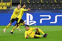 14th April 2021; Induna Park, Dortmund, Germany; UEFA Champions League Football quarter-final, Borussia Dortmund versus Manchester City; Jude Bellingham Borussia Dortmund celebrates his goal