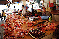 Cuts of pork for sale in the Futian agriculture and produce market.<br /> 08 February, 2007.<br /> Shenzhen, China