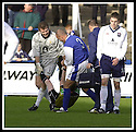 26/10/02       Collect Pic : James Stewart                     .File Name : stewart-qots v ross county 10.ANDY GORAM AND DEREK ANDERSON JOKE WITH REFEREE DAVID SOMER AFTER HE WAS HIT BY THE BALL NOT KNOWING HOW BADLY HURT HE WAS..........James Stewart Photo Agency, 19 Carronlea Drive, Falkirk. FK2 8DN      Vat Reg No. 607 6932 25.Office : +44 (0)1324 570906     .Mobile : + 44 (0)7721 416997.Fax     :  +44 (0)1324 570906.E-mail : jim@jspa.co.uk.If you require further information then contact Jim Stewart on any of the numbers above.........