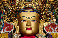 Statue of MAITREYA BUDDHA in the recently reconstructed GANDEN ASSEMBLY HALL - GANDEN MONASTERY, TIBET