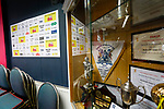 Trophies and the interview background screen in the clubhouse. Hucknall Town v Heanor Town, 17th October 2020, at the Watnall Road Ground, East Midlands Counties League. Photo by Paul Thompson.