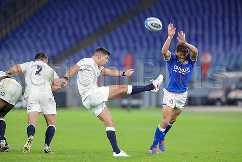 31st October 2020, Olimpico Stadium, Rome, Italy; Six Nations International Rugby Union, Italy versus England;  Ben Youngs (England) kicks for field position