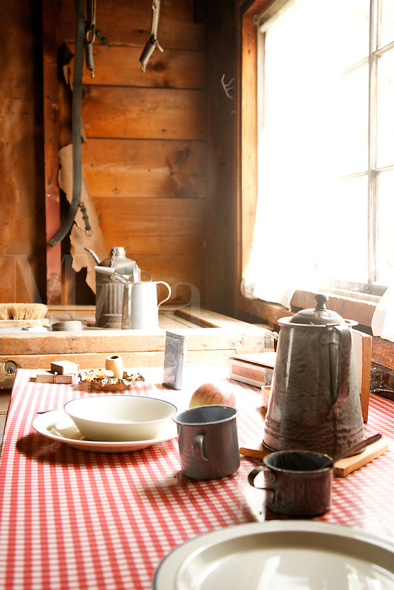 Rustic table setting, Stable house, Saint-Gaudens National Historic Site, Cornish, Sullivan County, New Hampshire, US