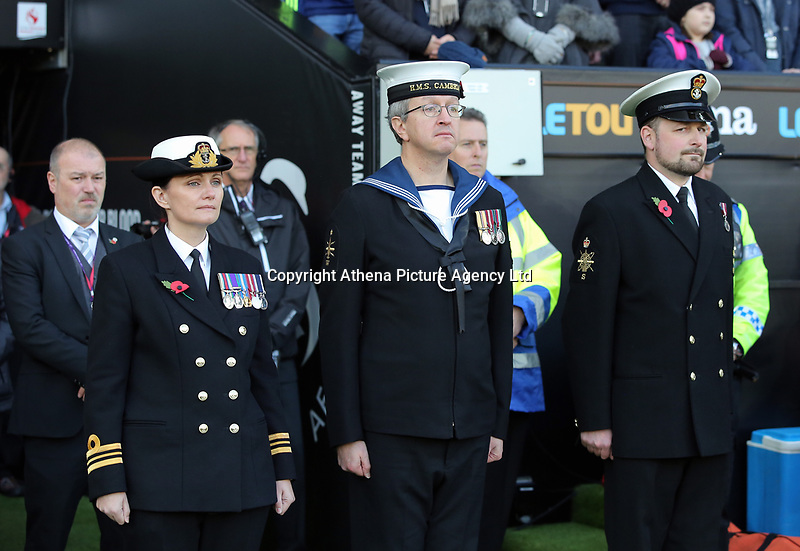 Members of the armed forces line up at the tunnel during the Premier League match between Swansea City and Brighton and Hove Albion at The Liberty Stadium, Swansea, Wales, UK. Saturday 04 November 2017