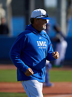 IMG Academy Ascenders pitching coach Ted Power during a game against the Victory Charter School Knights on February 28, 2020 at IMG Academy in Bradenton, Florida.  (Mike Janes/Four Seam Images)
