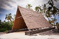 Halau canoe shelter in Pu'uhonua o Honaunau National Historical Park (City of Refuge), Big Island.