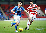 St Johnstone v Hamilton Accies....016.01.16  SPFL  McDiarmid Park, Perth<br /> David Wotherspoon is closed down by Lucas Tagliapietra<br /> Picture by Graeme Hart.<br /> Copyright Perthshire Picture Agency<br /> Tel: 01738 623350  Mobile: 07990 594431