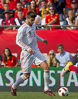 Spain defender Gerard Pique (3) at midfield. In a friendly match, Spain defeated USA, 4-0, at Gillette Stadium on June 4, 2011.