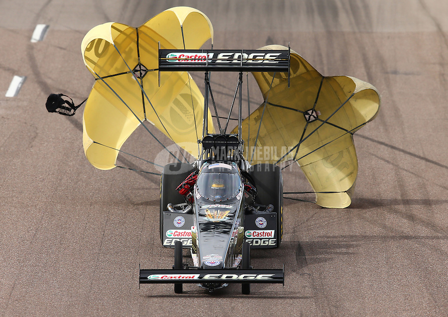 Feb 23, 2014; Chandler, AZ, USA; NHRA top fuel dragster driver Brittany Force during the Carquest Auto Parts Nationals at Wild Horse Motorsports Park. Mandatory Credit: Mark J. Rebilas-USA TODAY Sports