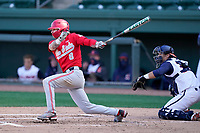 Second baseman Colton Bauer (8) of the Ohio State Buckeyes bats in a game against the Illinois Fighting Illini on Friday, March 5, 2021, at Fluor Field at the West End in Greenville, South Carolina. The Illinois catcher is Ryan Hampe. (Tom Priddy/Four Seam Images)