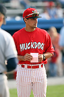 June 21st 2008:  Coach Jeff Albert (55) of the Batavia Muckdogs, Class-A affiliate of the St. Louis Cardinals, during a game at Dwyer Stadium in Batavia, NY.  Photo by:  Mike Janes/Four Seam Images