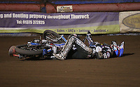 Adam Ellis of Lakeside Hammers crashes in Heat 14 - Lakeside Hammers vs Leicester Lions, Elite League Speedway at the Arena Essex Raceway, Pufleet - 04/04/14 - MANDATORY CREDIT: Rob Newell/TGSPHOTO - Self billing applies where appropriate - 0845 094 6026 - contact@tgsphoto.co.uk - NO UNPAID USE