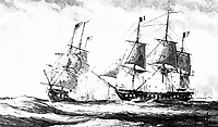 Battle betweeen U.S. frigate Constellation and French frigate L'Insurgente, in the Naval War with France, February 1799.  Copy of artwork by Hoff.  (Bureau of Ships)<br /> Exact Date Shot Unknown<br /> NARA FILE #:  019-CN-12348<br /> WAR & CONFLICT BOOK #:  71