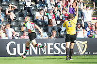 Mike Brown of Harlequins celebrates scoring the bonus point try during the Aviva Premiership match between Harlequins and Sale Sharks at The Twickenham Stoop on Saturday 15th September 2012 (Photo by Rob Munro)