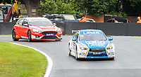 23rd August 2020; Oulton Park Circuit, Little Budworth, Cheshire, England; Kwik Fit British Touring Car Championship, Oulton Park, Race Day;  Ashley Sutton Laser Tools Racing driving a Infiniti Q50  leads  Rory Butcher Motorbase Performance driving a Ford Focus ST and goes on to win race 2
