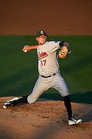 New Britain Rock Cats pitcher Jeff Hoffman (17) delivers a pitch during a game against the Reading Fightin Phils on August 7, 2015 at FirstEnergy Stadium in Reading, Pennsylvania.  Reading defeated New Britain 4-3 in ten innings.  (Mike Janes/Four Seam Images)