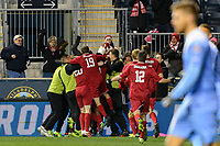 Chester, PA - Friday December 08, 2017: Andrew Gutman celebrates scoring The Indiana Hoosiers defeated the North Carolina Tar Heels 1-0 during an NCAA Men's College Cup semifinal soccer match at Talen Energy Stadium.