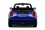 Straight rear view of a 2018 Mini MINI One Salt 2 Door Convertible stock images
