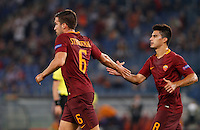Calcio, Europa League: Roma vs Astra Giurgiu. Roma, stadio Olimpico, 29 settembre 2016.<br /> Roma's Kevin Strootman, left, celebrates with his teammate Diego Perotti after scoring during the Europa League Group E soccer match between Roma and Astra Giurgiu at Rome's Olympic stadium, 29 September 2016. Roma won 4-0.<br /> UPDATE IMAGES PRESS/Riccardo De Luca