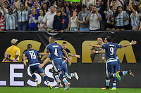 Houston, TX - Tuesday June 21, 2016: Ezequiel Lavezzi celebrates scoring during a Copa America Centenario semifinal match between United States (USA) and Argentina (ARG) at NRG Stadium.