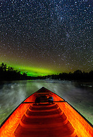 """""""Canoeing Under The Stars""""<br /> <br /> I enjoyed some light-painting fun with my flashlight as I waited for the Aurora to intensify. ~ Day 209 of Inspired by Wilderness: A Four Season Solo Canoe Journey."""