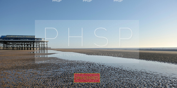 18/03/2011 Exceptionally low tide beyond Central Pier, Blackpool Lancashire UK......© Phill Heywood.