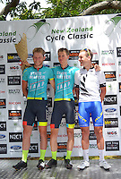 Stage five podium, from left: Jessie Kerrison (3), Mike Cuming (1) and Jason Christie (2) after the NZ Cycle Classic stage five of the UCI Oceania Tour in Masterton, New Zealand on Saturday, 23 January 2016. Photo: Dave Lintott / lintottphoto.co.nz