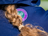London, England, 3 th. July, 2018, Tennis,  Wimbledon, Wimbledon logo on ballgirls shirt<br /> Photo: Henk Koster/tennisimages.com