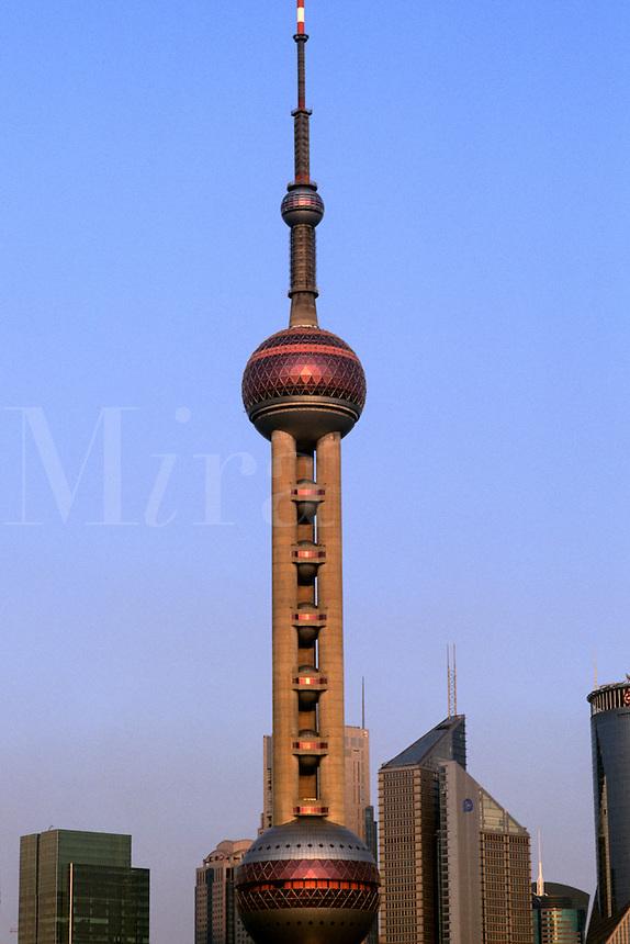 Shanghai China skyline skyscraper Oriental Pearl Tower needle point ower in Shanghai China