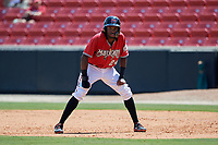 Carolina Mudcats Wes Rogers (24) leads off during a Carolina League game against the Winston-Salem Dash on August 14, 2019 at Five County Stadium in Zebulon, North Carolina.  Winston-Salem defeated Carolina 4-2.  (Mike Janes/Four Seam Images)