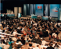 Montreal (Qc) Canada  file Photo - 1995 - Lucien Bouchard adress the delegates at the 1995  Bloc Quebecois Convention.