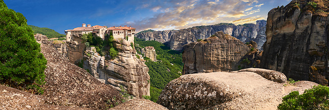 Medieval Meteora  Monastery of Varlaam on top of a rock pillar in the Meteora Mountains, Thessaly, Greece